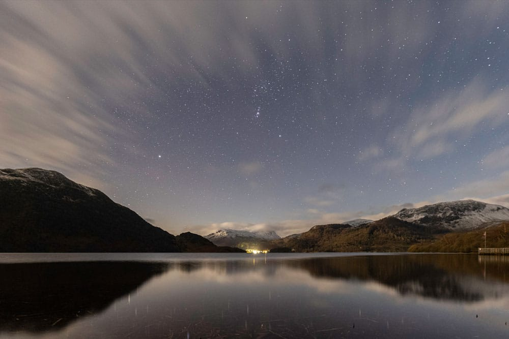 Orion over Ullswater photographed by Ben Bush