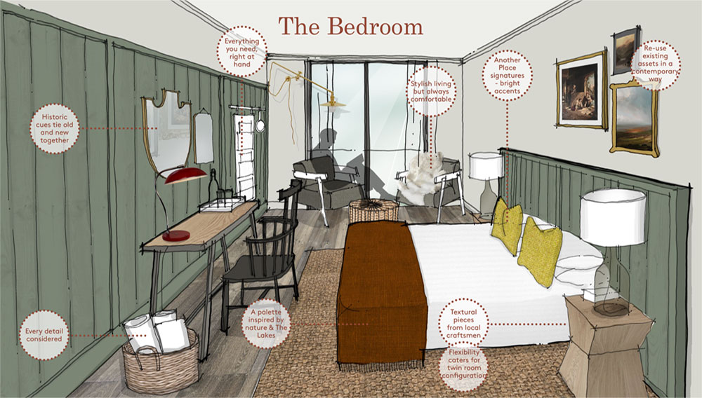 Interior design concept board for a bedroom by Household Design