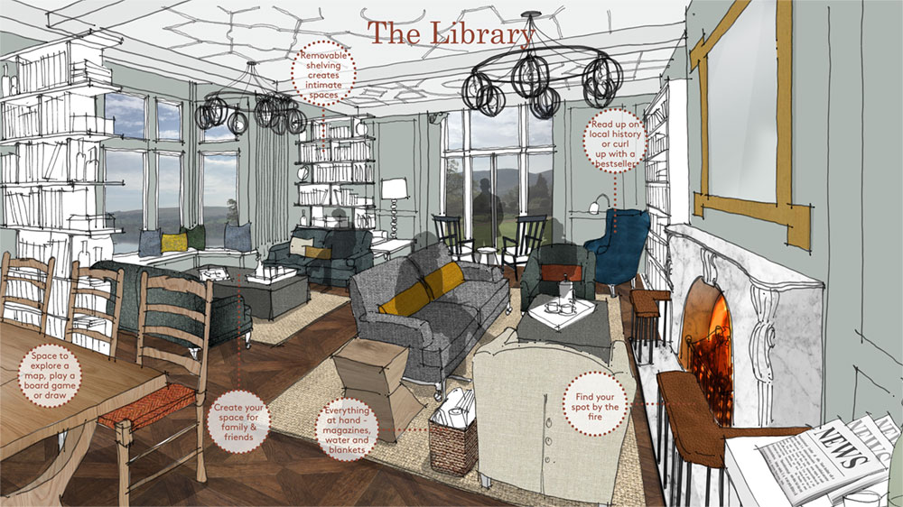 Interior design concept board for the hotel library by Household Design