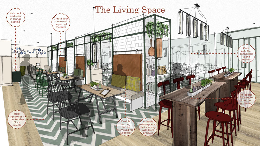 Interior design concept board for The Living Space by Household Design