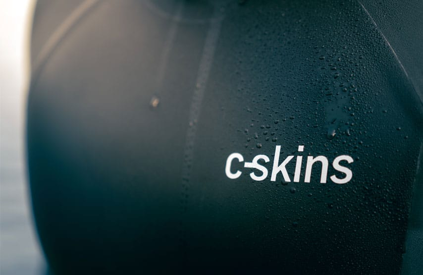 Water drops on the chest of a C-Skins swim research wetsuit