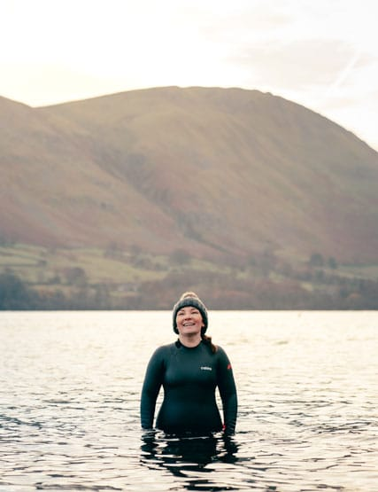 Swimming in Ullswater with a C-Skins swim research wetsuit