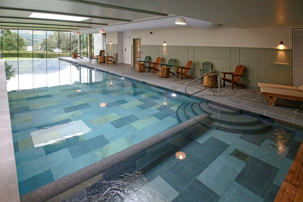 Hotel swimming pool shallow end and steps