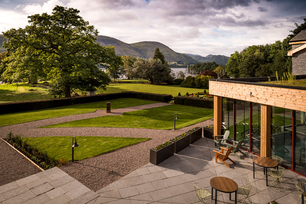 The Living Space terrace with views over Ullswater